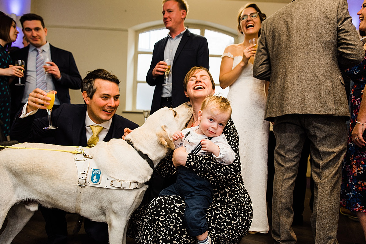 Guide dog licks the face of a wedding guest. Image by informal wedding photographer Parrot and Pineapple.