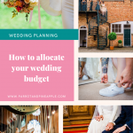 Collage of 5 wedding photos and text that reads 'how to allocate your wedding budget'