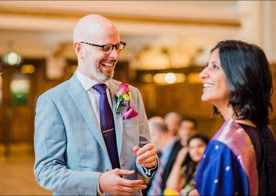 indian bride and groom laugh informal wedding ceremony