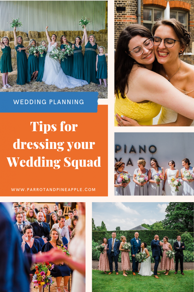 Tips for dressing your bridesmaids and groomsmen. Images by Parrot & Pineapple.