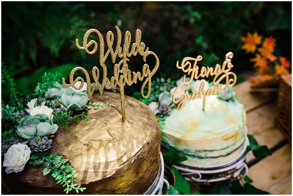Gold buttercream wedding cake acrylic cake topper Parrot and Pineapple