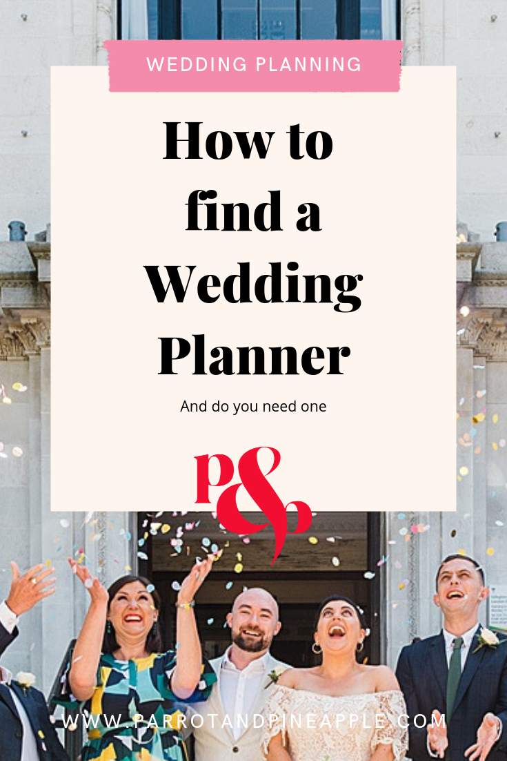 "Text reading ""how to find a wedding planner"" over a photo of a bride and groom throwing confetti"