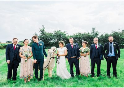 Bridal-Party-Shot-in-Garden-DIY-Home-Garden-Wedding-Parrot-and-Pineapple-Wedding-Photography