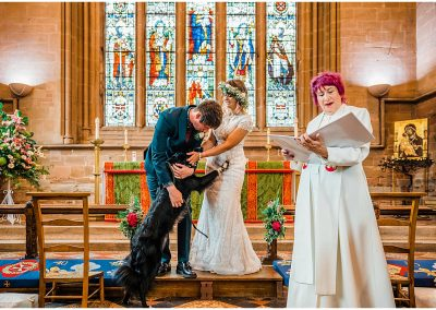 Bride-Groom-and-their-dog-Temple-Balsall-Church-DIY-Home-Garden-Wedding-Parrot-and-Pineapple-Wedding-Photography