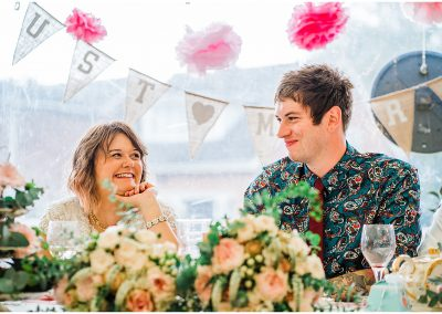 Just-Married-Bunting-Marquee-Reception-DIY-Home-Garden-Wedding-Parrot-and-Pineapple-Wedding-Photography