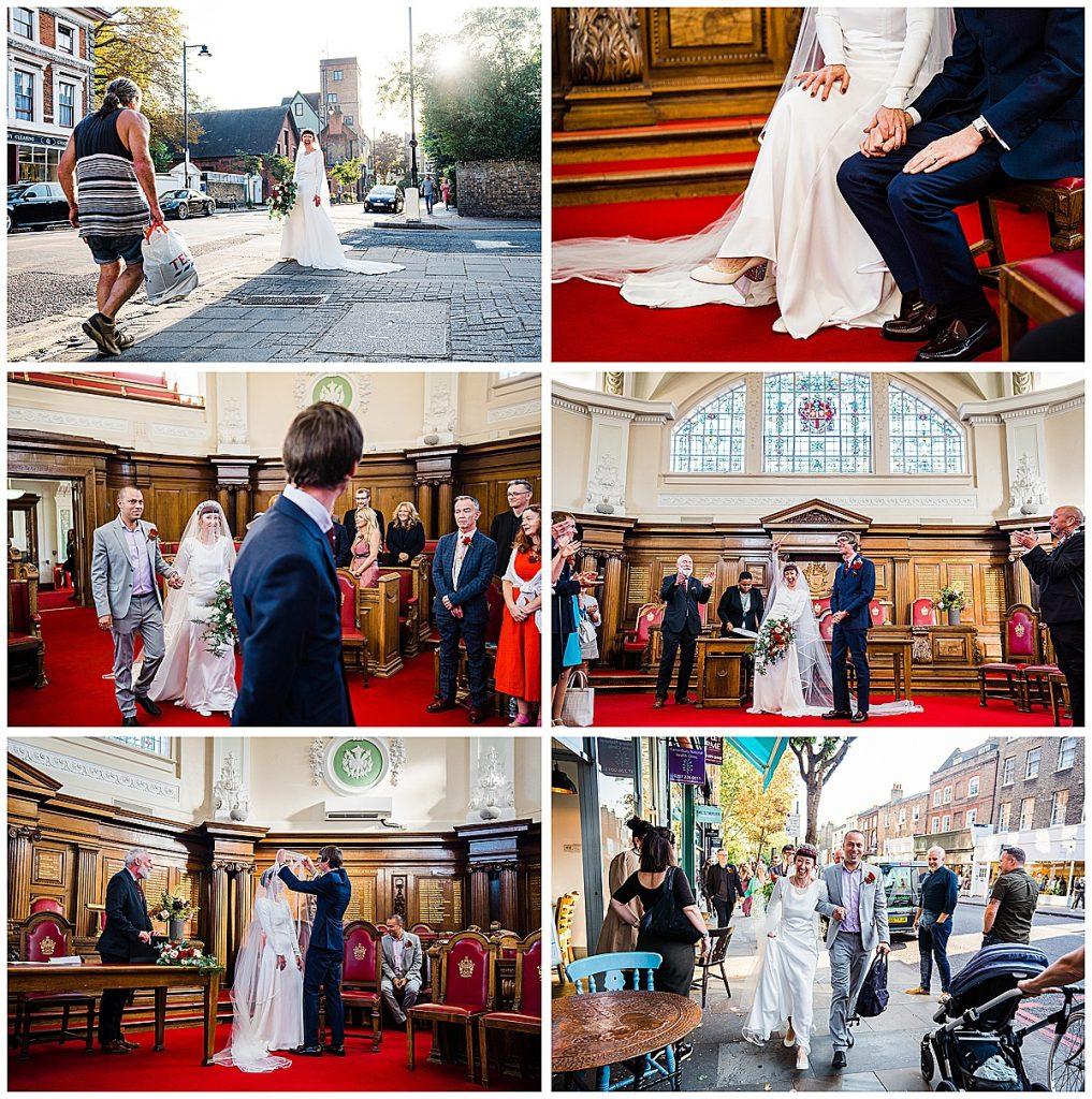 Wedding photo collage islington town hall wedding london vintage bride unique wedding dress