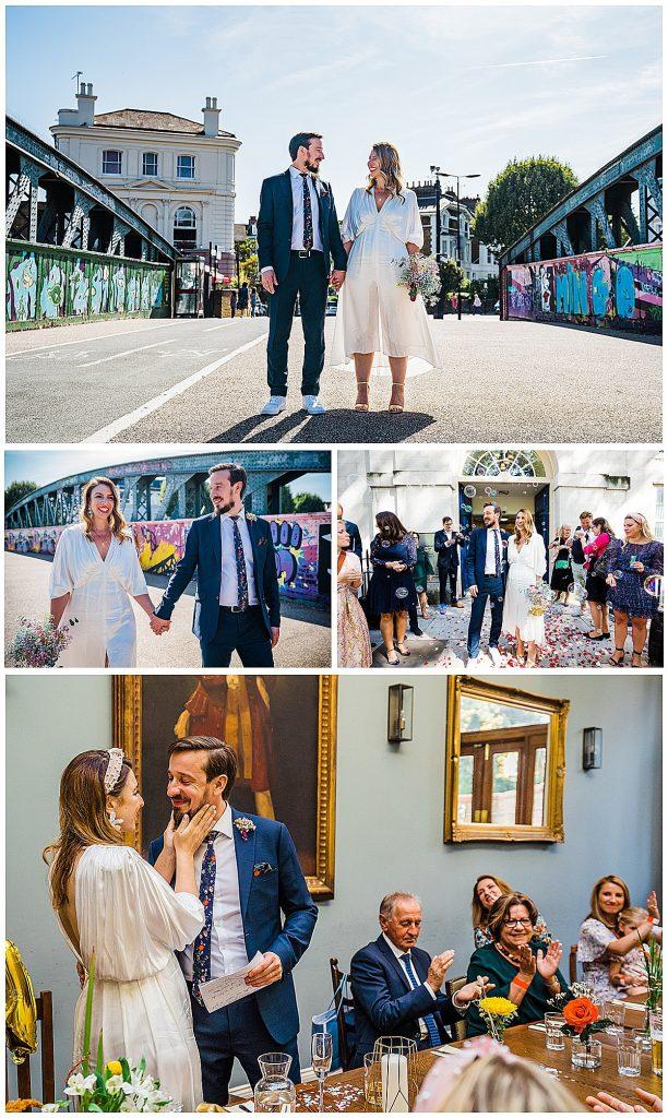 wedding photo collage london wedding asos bride small informal wedding
