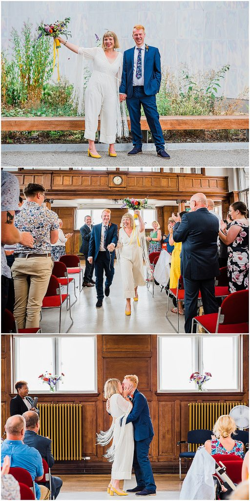 Wedding photo collage of bride wearing wedding jumpsuit ASOS Parrot Pineapple