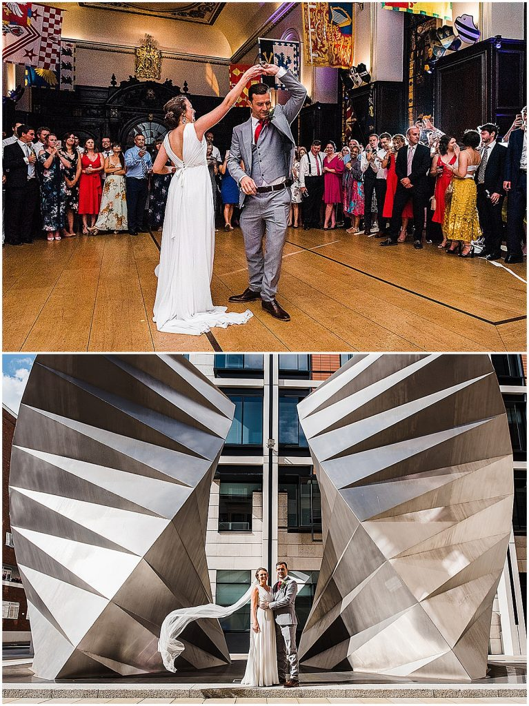 Two photos showing bride in a-line column wedding dress gillian million