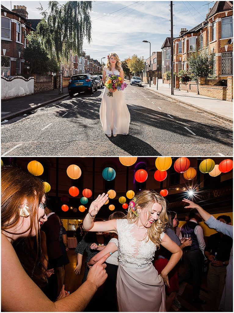 Photo collage of bride wearing unique wedding dress column sleeveless illusion panel Parrot and Pineapple
