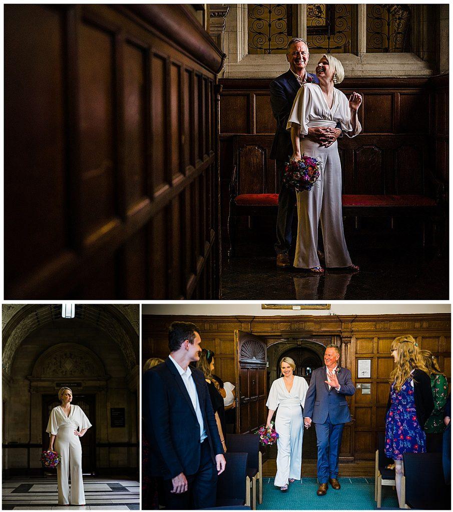 Oxford town hall wedding vintage bridal silk jumpsuit