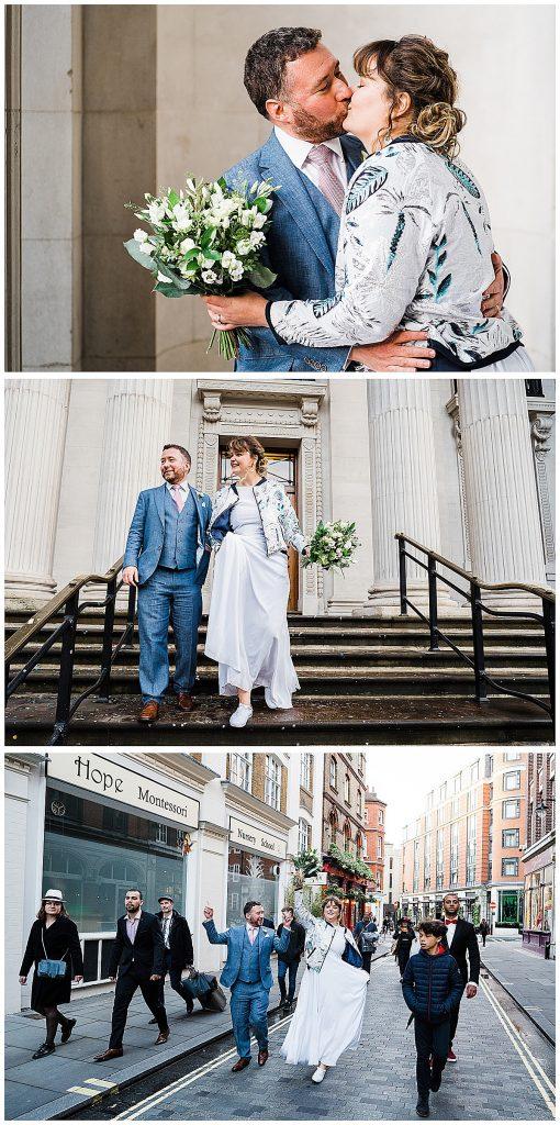 Wedding photo collage bridal bomber jacket london wedding marylebone town hall parrot pineapple