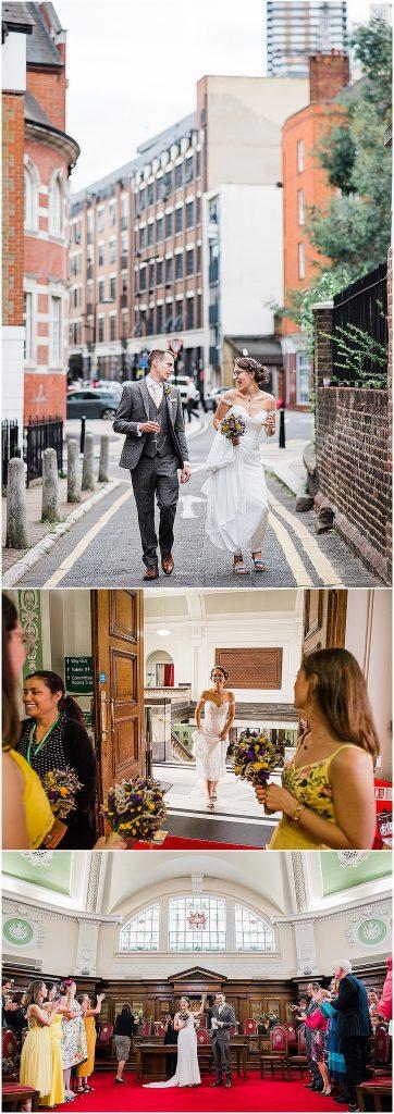 Photo collage bride simple elegant wedding dress bardot sleeves london wedding
