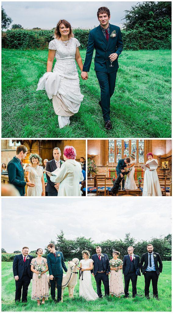 Wedding photo collage boho wedding lace wedding dress