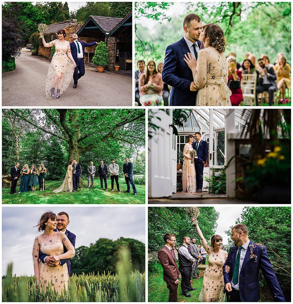 Photo collage of bride wearing DIY wedding dress gold sequins