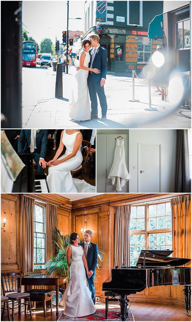 Photo collage of bride wearing maggie sottero elegant wedding dress Parrot & Pineapple