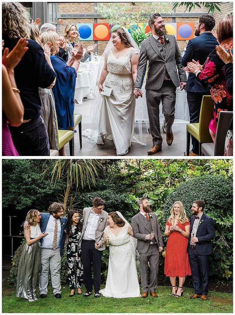 Two wedding photos bride beaded column wedding dress Parrot and Pineapple