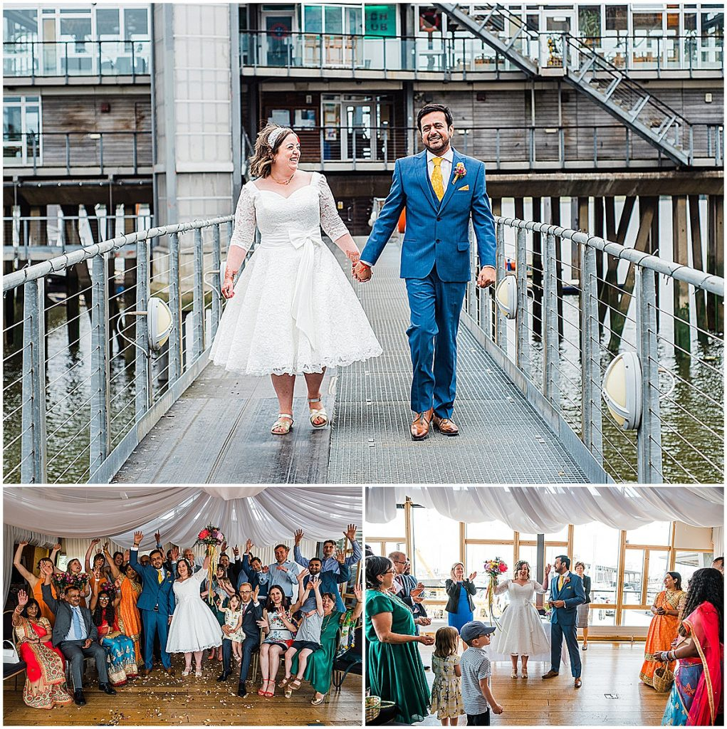 Bride groom tea length wedding dress long sleeved blue suit greenwich yacht club wedding