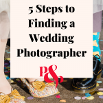 Bride groom confetti witth text reading '5 steps to finding a wedding photographer'