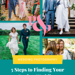 Collage of wedding photos and text that reads '5 steps to fiding your perfect wedding photographer'