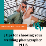 Bride groom hug laugh text that reads 5 top tips for choosing your wedding photographer plus free checklist