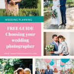 Collage of wedding photos with text reading FREE GUIDE choosing your wedding photographer