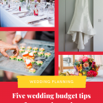 Collage of wedding photos and text that reads Five wedding budget tips from real couples