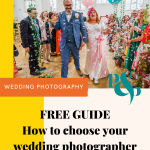Pinterest graphic showing a wedding confetti photo and text reading FREE GUIDE how to choose your wedding photographer