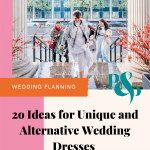 Pinterest graphic showing a bride wearing a bridal bomber jacket and overlay text reading '20 ideas for unique and alternative wedding dresses'