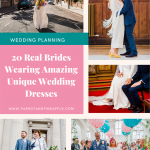 Pinterest graphic showing collage of wedding dress ideas and text reading '20 real brides wearing amazing unique wedding dresses'