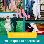 Pinterest graphic showing collage of wedding photos and text overlay reading 20 unique and alternative wedding dress ideas'