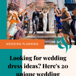 Pinterest graphic showing a newly wedded couple showered in confetti with text overlay that reads 'Looking for unique wedding dress ideas? Here's 20 unique wedding dresses on real brides'
