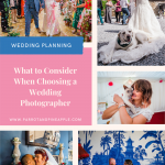 pinterest collage of wedding photos and text that reads what to consider when choosing a wedding photographer
