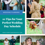 Collage of 5 colourdul documentary wedding images with text that reads 10 tips for your perfect wedding day schedule