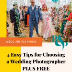pinterest graphic showing bride and groom showered in confetti and text that reads 4 easy tips