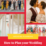 Collage of colourful documentary wedding photos with text on a red background that reads how to plan your wedding day schedule - 10 tips