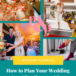 Collage of 4 colourful documentary wedding photos with text on a green background that reads How to Plan Your Wedding Day Timeline - 10 tips