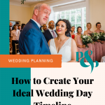 Photo of Bride and groom laughing at each other during wedding ceremony with text underneath reading How to Create Your Ideal Wedding Day Timeline