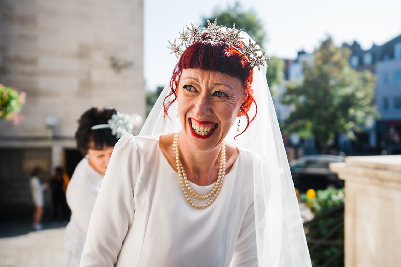 Bride in alternative head piece Islington Wedding