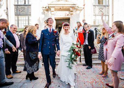 Confetti exit Islington Town Hall wedding