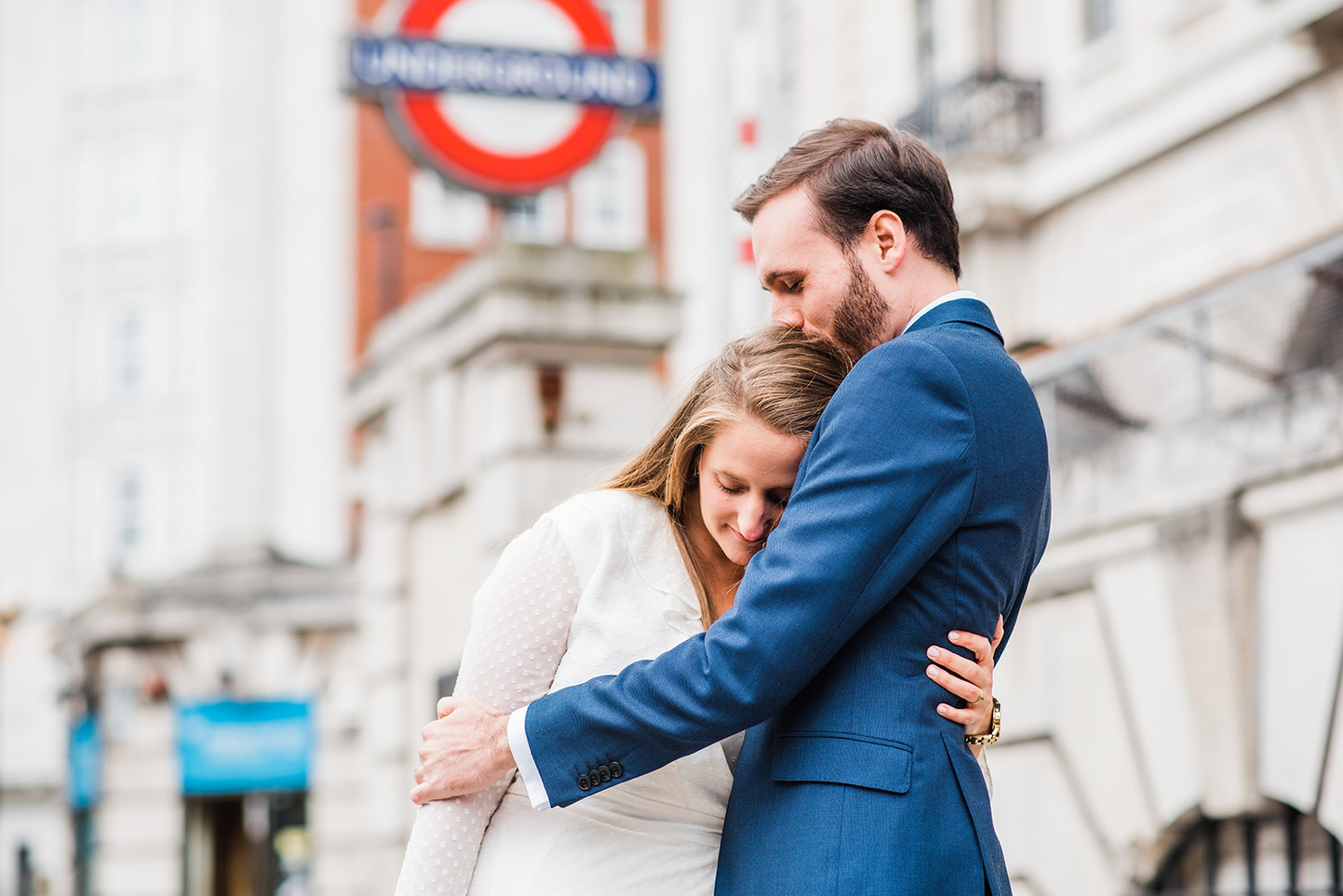 Couple portrait on London street Old Marylebone Town Hall Elopement