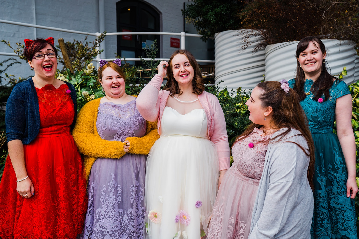 Bride and bridesmaids The Bond Company Birmingham Wedding