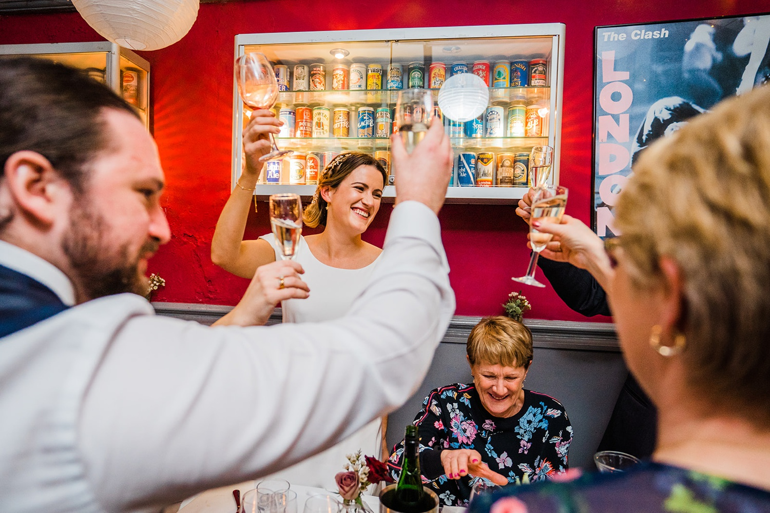 Bride toasting guests during wedding speeches at Londesborough Pub London