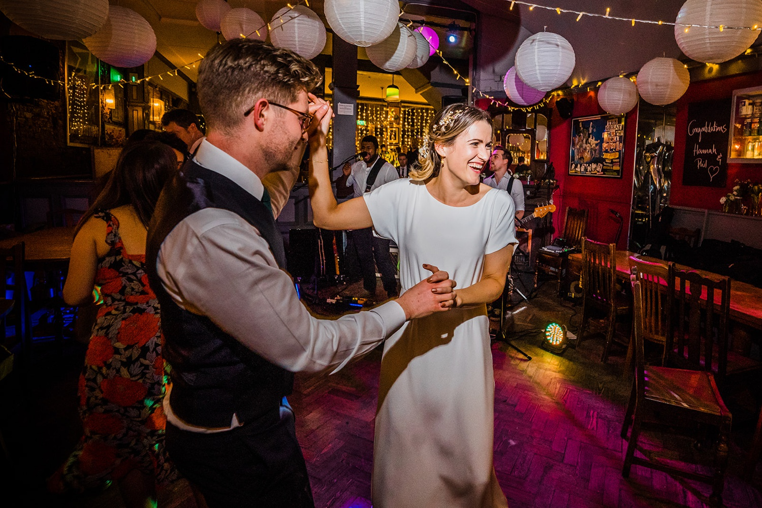 Bride and groom having their first dance at the Londesborough pub