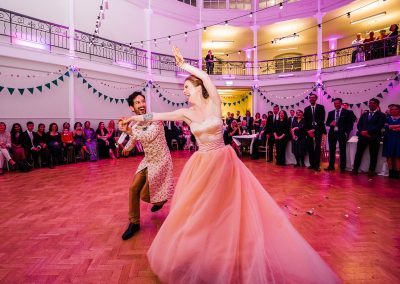 Bride-and-groom-dance-energetic-first-dance-at-the-tab-centre-in-shoreditch