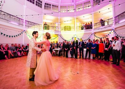 Bride-and-groom-dance-first-dance-at-cultural-fusion-wedding-at-The-Tab-Centre-in-london