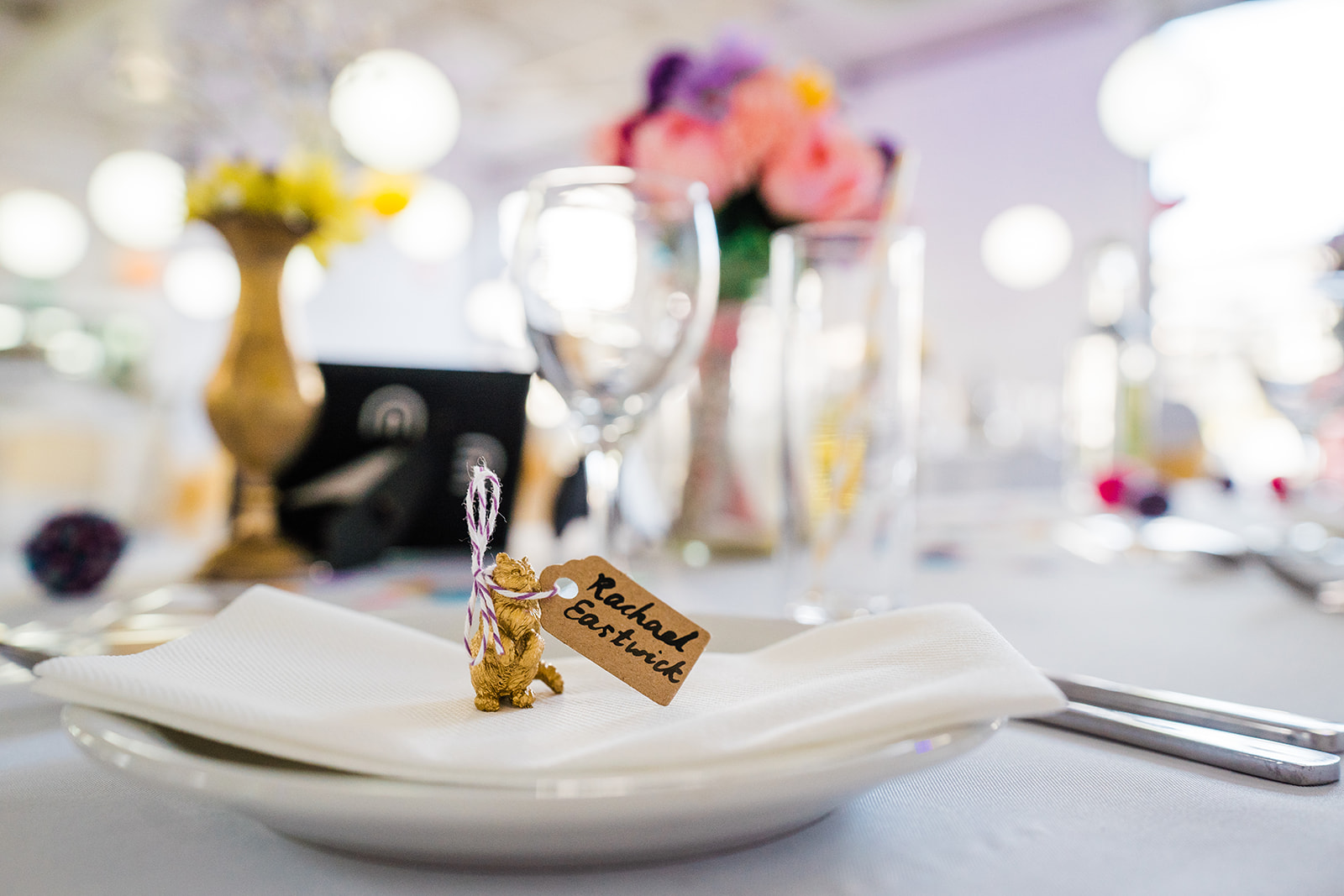 gold painted cat with name tag label as DIY wedding decoration at The Bond in Birmingham