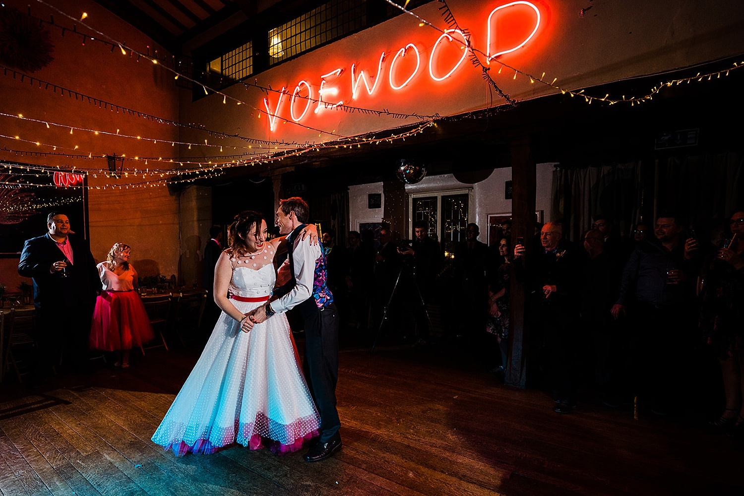 Bride and groom having their first dance Voewood wedding