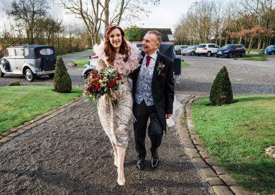 Bride and dad arriving at Shustoke Barn