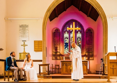 vicar delivers wedding blessing at socially distanced wedding